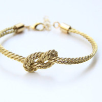 Bridesmaid gift - Small golden silk Knot Bracelet - 24k gold plated