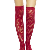 Pointelle Knit Over-the-Knee Socks | Wet Seal