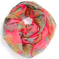 David & Young Leaf Print Infinity Scarf (Juniors) | Nordstrom