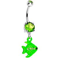 Green Gem Neon Angel Fish Dangle Belly Ring | Body Candy Body Jewelry
