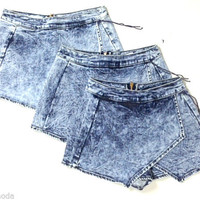 NEW Denim Acid Wash Jean Asymmetrical Skort with Overlapping Panels Made in USA