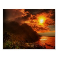 Beautiful Sunset Above The Ocean Poster Art