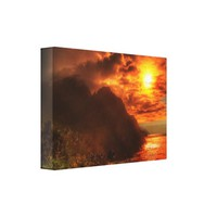 Beautiful Sunset Above The Ocean Canvas Art Print