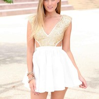 White A-Line Dress with Gold Sequin Bodice
