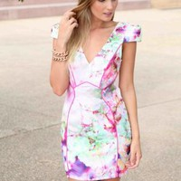 White & Pink Floral Print V-Neck Mini Dress