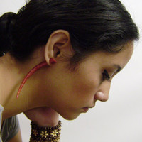 Fake gauge earrings ,Hand made,XXL Red Coral ,tribal style,organic,naturally