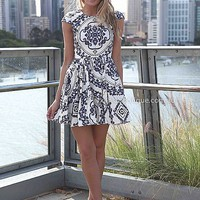 PRE ORDER - PAISLEY PRINT DRESS (Expected Delivery 31st March, 2014) , DRESSES, TOPS, BOTTOMS, JACKETS & JUMPERS, ACCESSORIES, 50% OFF SALE, PRE ORDER, NEW ARRIVALS, PLAYSUIT, COLOUR, GIFT VOUCHER,,Blue,White,Print Australia, Queensland, Brisbane