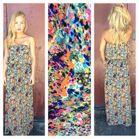 Watercolor Strapless Maxi Dress