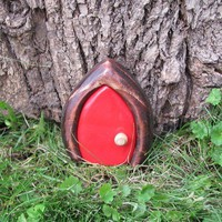 Red Mini Gnome door Fairy Door / faerie door by banished on Etsy