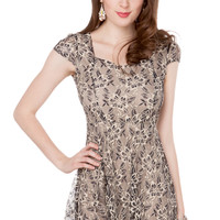 Lace Sweetheart Cap Sleeve Dress