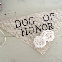 Ivory Dog of Honor Girl Collar with Flowers Bandana Rustic Burlap Wedding Photo Prop