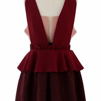 Red V-Neck Peplum Dress