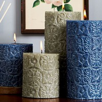 Embossed Medallion Scented Pillar Candle - Aegean Sea