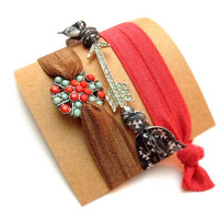 Set of three Embellished Bling Pave Silver Summer Aztec Rhinestone Arrow Turquoise Red Set Hair Ties Arm Candy Bling Glam EmiJay Inspired
