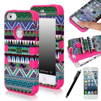 E-LV Apple iPhone 5S / 5 Dual Layer Hard and Soft Hybrid Armor Combo Case with 1 Screen Protector, 1 Stylus and 1 Microfiber Sticker Digital Cleaner (Tribal Hot-Pink, iPhone 5)