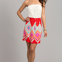 Short Strapless Print Summer Dress
