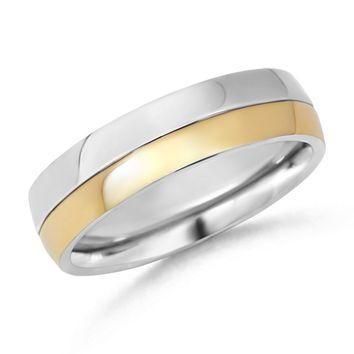 Comfort Fit Two-Tone Men's Wedding Band WRM_SR0789