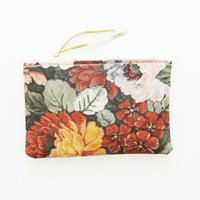 BOUQET 9 / Silk & Leather two sided pouch - Ready to Ship