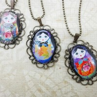 Blue russian doll oval lace antique brass necklace | LittleApples - Jewelry on ArtFire