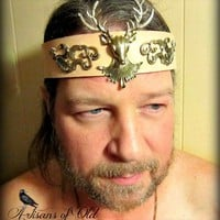Game of Thrones Stag Leather Headpiece LARP Headband Crown Sca