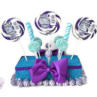Purple and Turquoise Candy Centerpiece, Lollipop Arrangement, Purple, Turquoise, Wedding, Centerpiece, Peacock, Quinceanera, Sweet 16