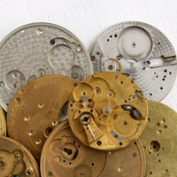 Vintage Pocket Watch Movement Part Lot - 8 Silver Tone, Brass Clock Pieces for Parts, Crescent & Round Steampunk Supplies Jewelry Making