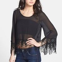 One Rad Girl 'Gwyneth' Lace Fringe Chiffon Crop Top | Nordstrom