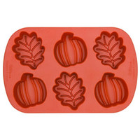 Silicone Soap Mold- 6 Cavity Pumpkin & Leaves