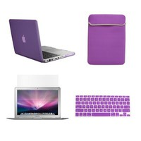 TopCase 13-Inch Macbook Pro A1278 with or without Thunderbolt 4-in-1 Bundle Rubberized Purple Hard Case Cover with Matching Color Soft Sleeve Bag,Silicone Keyboard Cover,LCD HD Clear Screen Protector and TopCase Mouse Pad