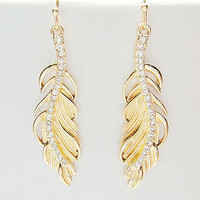 Gold feather earrings,rhinestone earrings, dangle earrings,steampunk earrings-- Bridesmaids Jewelry, Friendship, Graduation Birthday Gift
