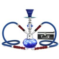 "NeverXhale Deluxe Series: 11"" 2 Hose Hookah Shisha Complete Set w/ Travel Case - Smoke Swirl Glass Vase - Pick Your Color (Ocean Blue)"