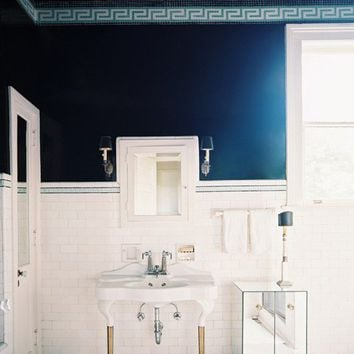 decorista daydreams (dark greek key bathroom  via lonny mag/patrick...)