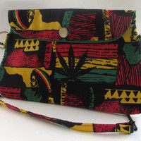 Rasta Clutch Purse with Chain Strap / Pot Leaf / Bob Marley Inspired
