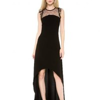 Bqueen Perspective Lace Stitching Barelegged Dress BG071 #dress #black #highlow #formal #partydress #tulle #chic