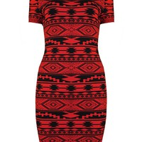 Bqueen Red Geometric Pattern Bandage Dress H189R  #dress #aztec #geometric #tribalprint #bodycon #sexy