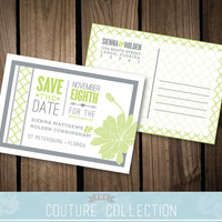 SAVE the DATE post card Modern Pattern Succulent Digital Wedding Invitation - Fully Customizable Custom Colors Printable DIY Digital File