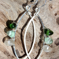 Hawaiian Olive Green, Aqua Blue, & Clear Beach Glass Wire Wrapped on 925 Sterling Silver Wire Cat Eye Hoop Earrings