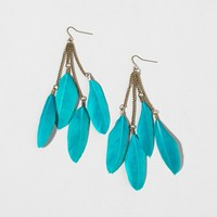 Four Teal Feather Drop Earrings | Claire's