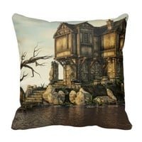 Fantasy - Old House on The Sea Throw Pillow