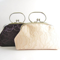 Frame Wedding Clutch - Lace Wedding Purse - Bridesmaid Clutch