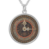 Steampunk Clock Silver Necklace