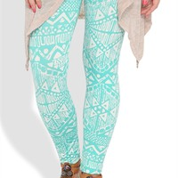 Legging with Teal and White Aztec Print