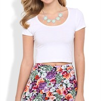 Multicolor Rose Print Skater Skirt