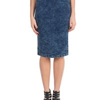 Denim Zip Up Pencil Skirt