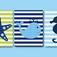 Whale Nursery Starfish Nursery Seahorse Nursery Baby Boy Nursery Art Nursery wall art kids room decor Kids Art Boy Print set of 3 8x10 green