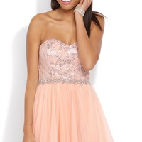Strapless Short Prom Dress with Foil Sequin Bodice and Mesh Skirt