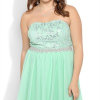 Plus Size Strapless Short Prom Dress with Sequin Bodice and Mesh Skirt