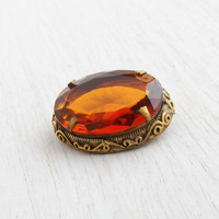 Vintage Brown Glass Brass Brooch - 1960s Retro Faceted Citrine Raised Repousse Filigree Jewelry
