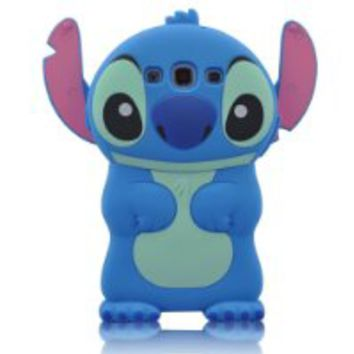 BYG Blue 3d Movable Ear Flip Hard Cover Case Stitch & Lilo for Samsung Galaxy S3 III I9300 Android with 3d Stitch + Gift 1pcs Phone Radiation Protection Sticker