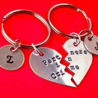 Partners in Crime Hand Stamped Broken Heart With Initials Keychain Set- In Brass, Copper, or Aluminum